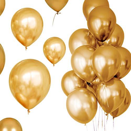 Palloncino Yoyoblue 50Pcs Balloons Metallizzati , Palloncini 12 Pollici Palloncini ad Elio Palloncini Compleanno Matrimonio Palloncini in Festa(Oro)