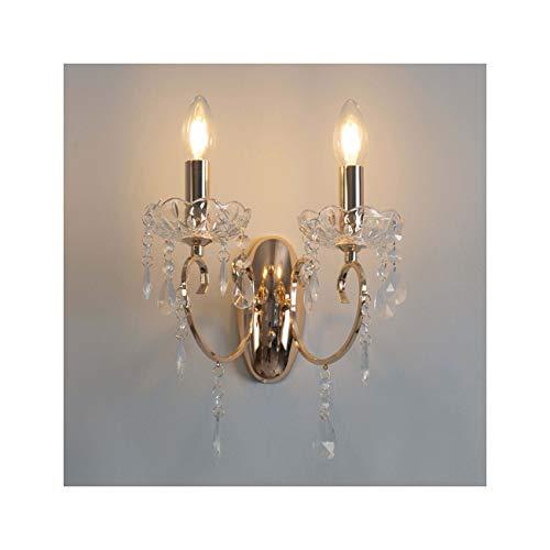 Applique a 2bracci in cristallo barocco con ciondoli, colore: dorato–Pavia
