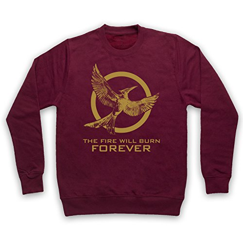 Hunger Games Mockingjay 2 The Fire Will Burn Forever Sweat-Shirt des Adultes, Bourgogne, Small