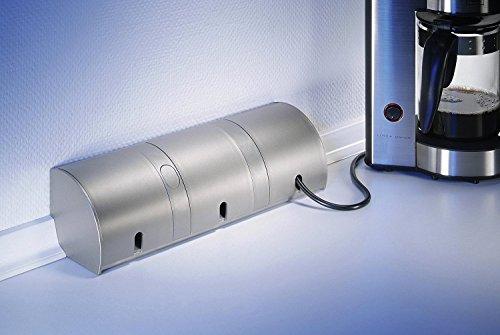 Thebo E 1000/ST3 3-fach Steckdosenleiste Steckdosenelement Aluminium Klappdeckel