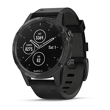 Garmin fenix 5 Plus Sapphire Multisport GPS Watch (Black w/ Black Leather Band)
