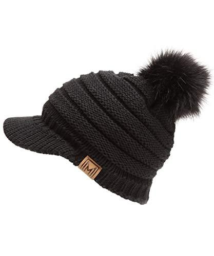 MIRMARU Women's Soft Warm Ribbed Knit Visor Brim Pom Pom Beanie Hat with Plush Lining (Black)