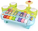 3 en 1 Instrumentos musicales Drum Musical Juguete, Conjunto de tambor de Xylophone del teclado de piano electrónico - Aprendizaje con luces para niños pequeños 1 2 2 años de edad, niños y niñas piano