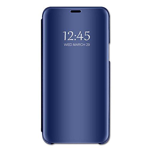 Compatibel met iPhone 8 hoesje, iPhone 7 hoesje, spiegel, telefoonhoesje van PU-leer, flipcase, bescherming, echt leer, etui, leren hoesje, beschermhoesje van echt leer, hoesje voor 7/8 Plus. iPhone 8 Plus blauw