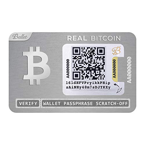 Ballet Real Bitcoin - Physical Cryptocurrency Wallet with Multicurrency Support, Stainless Steel (Single)