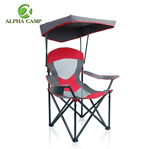 ALPHA CAMP Mesh Canopy Chair Folding Camping Chair - Red