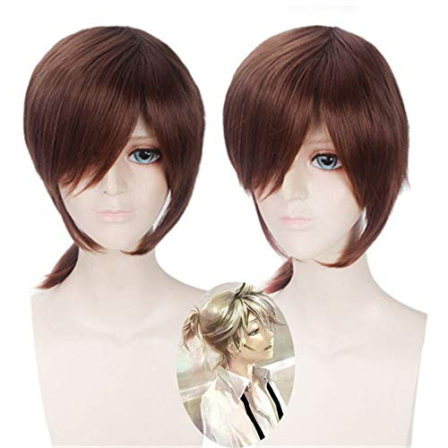 Vocaloid Kagamine Rin / Kagamine Len pelo corto marrn resistente al calor Kagamine Len Cosplay disfraz pelucas + gorro de peluca