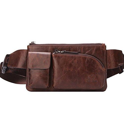 BISON DENIM Brown Genuine Leather Waist Bag Messenger Fanny Pack Bum Bag (Borwn/W2444-1Z)