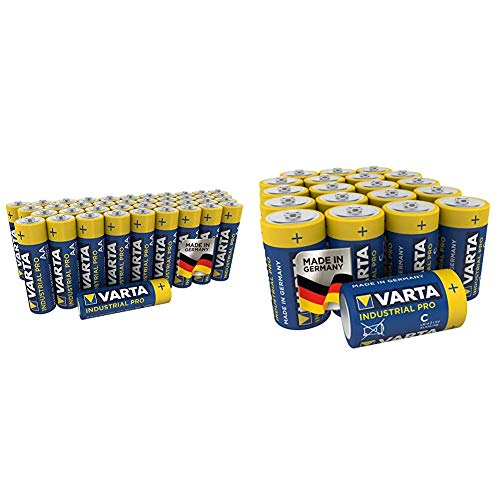 Varta Industrial Batterie (AA Mignon Alkaline Batterien LR6, umweltschonende Verpackung, 40er Pack) & Industrial Pro Batterie C Baby Alkaline Batterien LR14 (20er Pack)