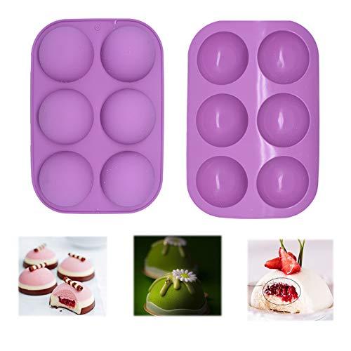(2 pack) 6 Holes Silicone Mold Bakeware for Chocolate bombs, Cake, Jelly, Baking DIY, Pudding, Handmade Soap, BPA Free Cupcake Baking Pan