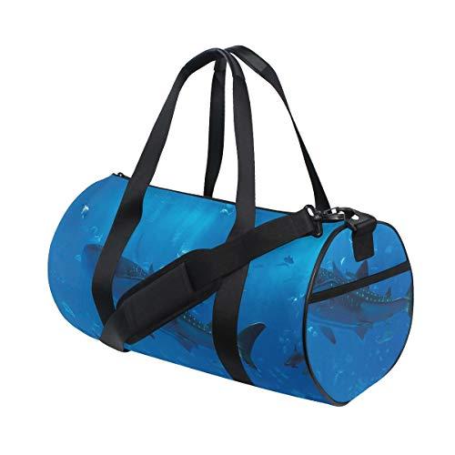 HARXISE Sporttasche Reisetasche,Japanischer Aquarium Park mit Leute Silhouetten, die Unterwasser Lebens Hobby beobachten,Schultergurt Handgepäck für Übernachtung Reisen