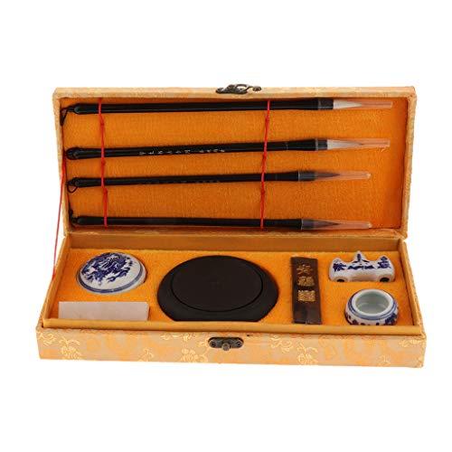 IPOTCH Chinesisches Traditionelles Kalligraphie Set Kalligraphie Schreibpinsel Stift Set