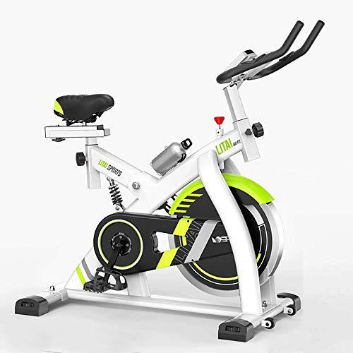 FGONG Heimtrainer Fahrrad Indoor Fitness Bike Verstellbares Profi Heimtrainer Mit LCD-Display Workout Trainingsgerät Bequemes Sitzkissen,Blanc