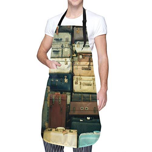 DAHALLAR Ajustable Colgante de Cuello Personalizado Delantal Impermeable,Muchas maletas antiguas antiguas,Babero de Cocina Vestido para Hombres Mujeres con 2 Bolsillos Centrales
