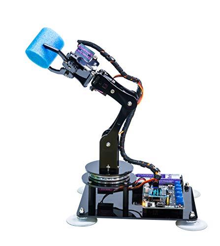 Adeept 5-DOF Kit de Brazo robótico Compatible con Arduino IDE | Kit de Robot de Bricolaje | Kit de Brazo de Robot Steam con Pantalla OLED | Código de procesamiento y Tutorial PDF