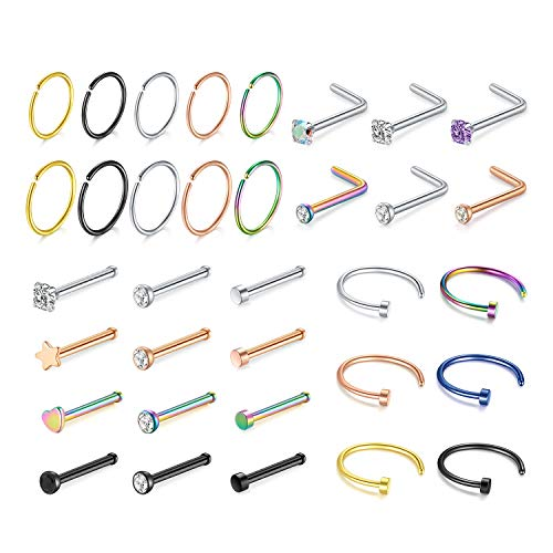 MODRSA Nose Studs 20g Nose Rings Hoops C Shape Surgical Stainless Steel Diamond Flat Top Nose Bone Pin Small Septum Ring Lip Ring Cartilage Tragus Forward Helix Earrings Hoop Nostril Piercing Jewelry
