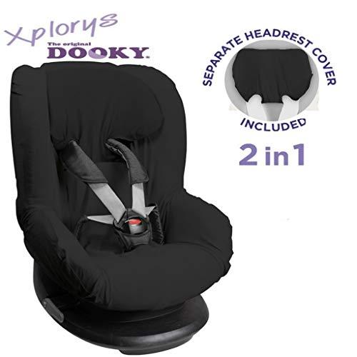 Original DOOKY 2in1 Sitzbezug ** UNIVERSAL Schonbezug 3 und 5 Punkt Gurt System ** Maxi Cosi TOBI + Sitze der Gr. 1 wie z.B. Maxi-Cosi Priori/SPS/XP, Römer King/TS/Duo etc. (Black Line)