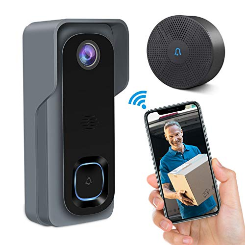 Video Doorbell,GEREE WiFi Smart Wireless Doorbell 1080P HD Security Home Camera, Real-Time Video and Two-Way Audio, Night Vision, PIR Motion Detection, 166°Wide Angle Lens