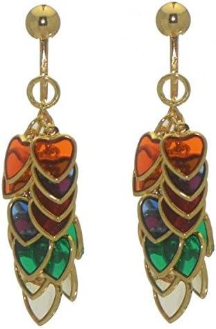 CROI ALAINN gold plated multi-colour hearts clip on earrings