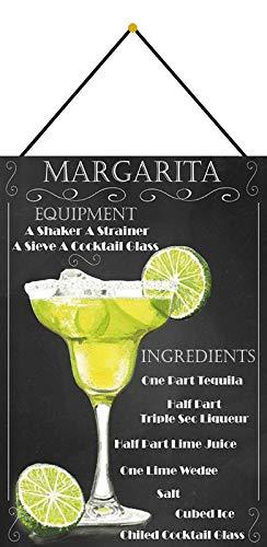 Metalen bord 20x30cm gebogen met koord Cocktail Recept Deco Gift Shield Margarita Tequila Limone