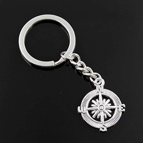 N/ A SGDONG Fashion mannen 30Mm sleutelhanger Diy metalen houder ketting kompas 28X24Mm zilver kleur hanger cadeau
