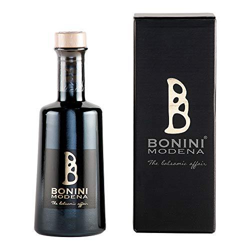 BONINI Productor de vinagre balsámico tradicional de Módena DOP, aderezo Maturo 250 ml echo a mano con mosto de uva cocido, envejecido en barriles de 18 años, Made in Italy