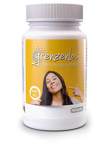 grenzenlos® Stimmungsaufheller pflanzlich 90 Kapseln - Psyche & Nervensystem unterstützen - Natürlicher Stimmungsaufheller Tabletten hochdosiert - 21 Inhaltsstoffe mit Brahmi, Rhodiola rosea & Ginkgo