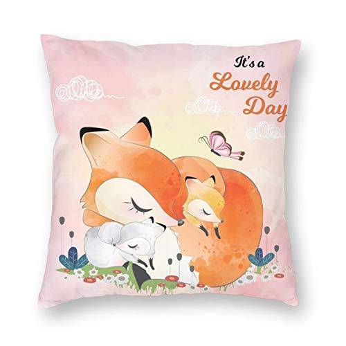 NiBBuns - Funda de almohada decorativa, diseño de zorros de color naranja y rosa, diseño de mariposas, color rosa