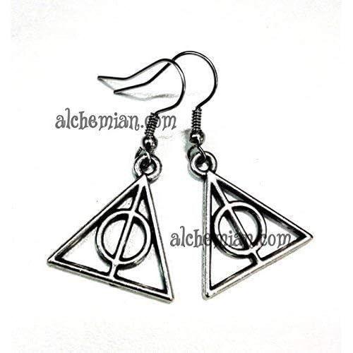 Doni della morte, orecchini tono argento antico 15mm, Harry Potter Deathly Hallows