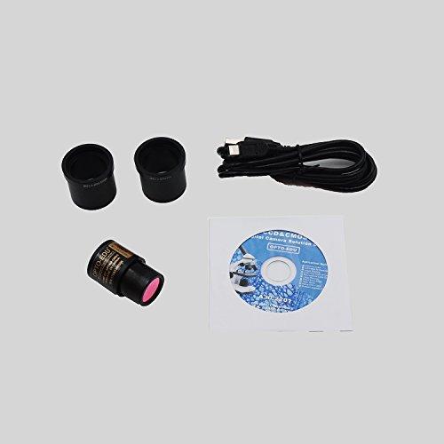 OPTO-EDU A11.1009-FE5M1 40-2500X LED Digital Trinocular Lab Microscope, 5MP Camera, Blank Slides, Covers, Lens Paper, Book, Metal, Glass, Plastic