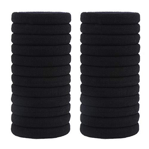 LOAVER black Hair Ties,Seamless Hair Loop,Elastic Hair Ties For Women-24Pieces