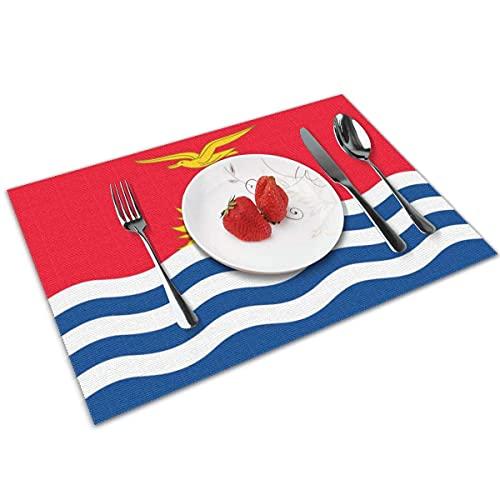 Flagge von Kiribati Tischset Matte Waschbare rutschfeste dekorative Esstischdecke 4er-Set