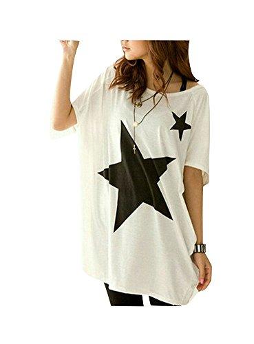 Lanodove Blusa Verano Mujer 2017 Camisa Manga Murcielago Camiseta Estampada Estrella Cuello Redondo T-Shirt Manga Corta (Talla única, Blanco)