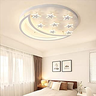 Creative LED Flush Mount Ceiling Light, CraftThink Acrylic Chandeliers Moon Star Shape Lighting for Living Room Bedroom Kids Room-4 Star (Color: Warm light, Size: 40X40X8cm)