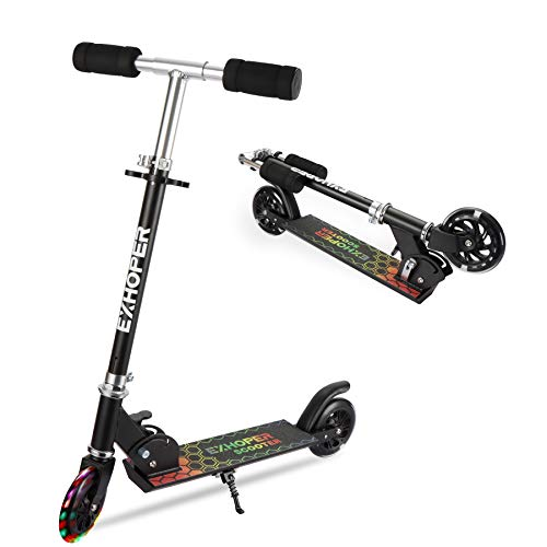 Kick Scooter for Kids Height Adjustable Kids Folding Scooter with Light Up Wheels Lightweight for Boys Girls Age 3+, 110 lb Weight Capacity (Black)