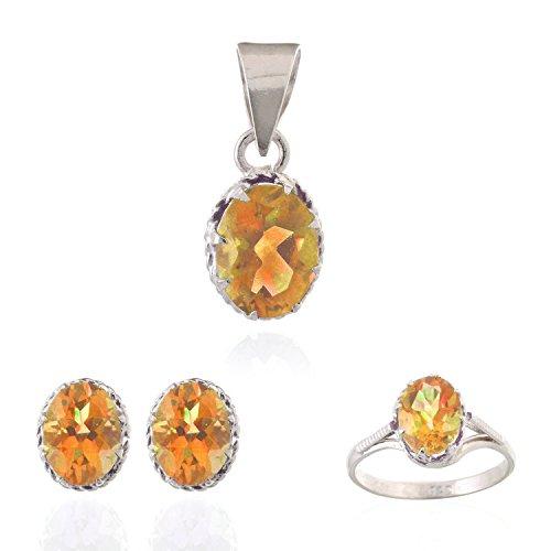 Neerupam Collectie Hedendaagse Gouden-Gele Citrien Echte Edelstenen Gerhodineerd Sterling Zilver Oorbel, Ring & Hanger Set voor Vrouwen
