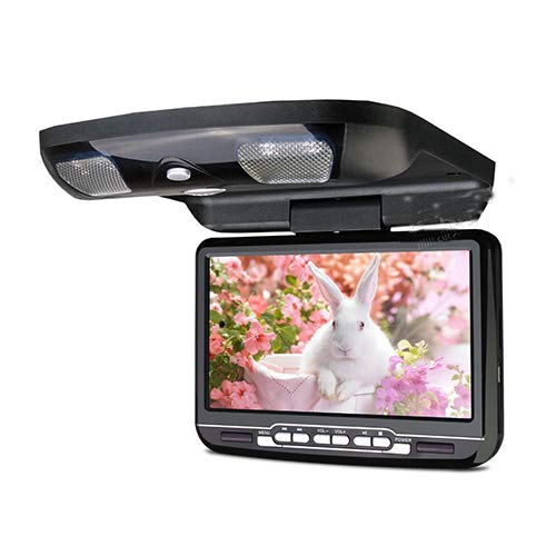 Monitor de video abatible de montaje en techo de 9 pulgadas para automóvil, pantalla LED digital Reproductor de DVD con altavoz incorporado USB SD FM IR,Negro