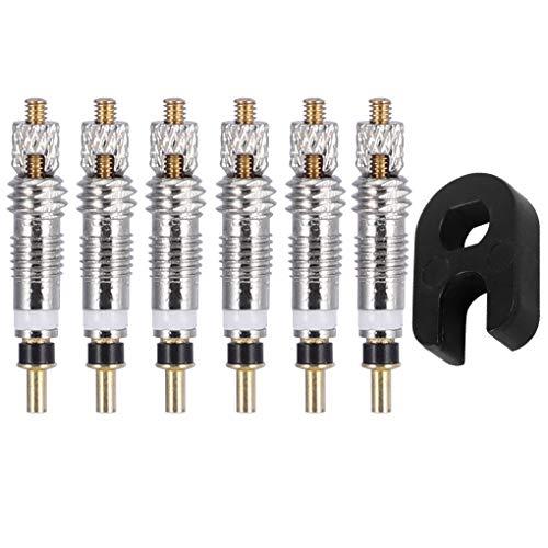 Fangjuhua Bici neumático Válvula Básica núcleo de la válvula del neumático neumático de la Bicicleta de la válvula neumática Core Repair Tool Kit de reemplazo para Presta, 6pcs