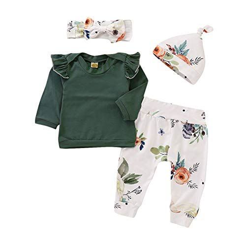 baskopa Toddler Sweatshirt for Girl 18-24 Months Ruffle Long Sleeve Tops with Elastic Waist Trousers 18-24 Months Outfit 2PCS