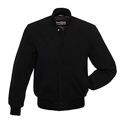 CW112-M All Wool Black Varsity Letterman Jacket from Stewart & Strauss