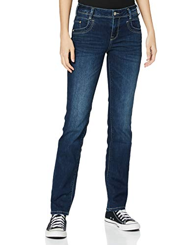 TOM TAILOR Damen Alexa Straight Jeans, Blau (Dark Stone Wash Denim 10282), 28W / 30L