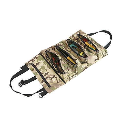 Keenso Multi-Purpose Tool Roll Up Bag, Multifunction Canvas Hanging Type Portable Outdoor Travel Outgoing Car Tool Storage Bag