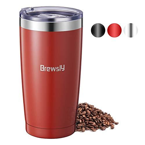 Brewsly Termo Cafe, 6 h Caliente y 12 h Frío, 600ml Botella Termica de Acero Inoxidable, Aislamiento de Vacío de Doble Pared Vaso Termico, Sin BPA, para Café, Té, Rojo