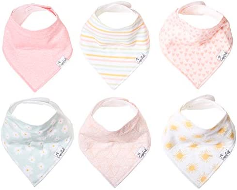 Baby Bandana Drool Bibs for Drooling and Teething 6 Pack Gift Set for Girls Sunny Set by Copper product image