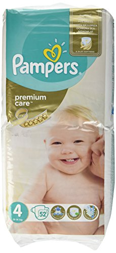 Pampers Premium Care 4 ,8-14 Kg, 52Stück – Windel Disposable Diaper, weiß)