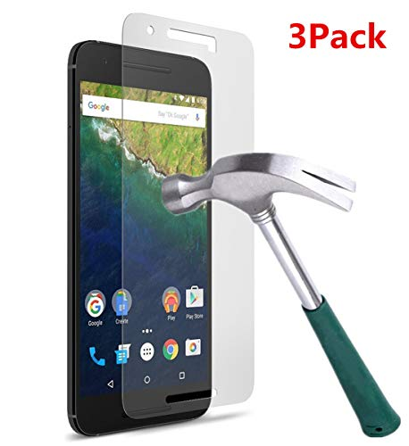 TANTEK Nexus 6P Screen Protector, [Bubble-Free][HD-Clear][Anti-Scratch][Anti-Glare][Anti-Fingerprint] Premium Tempered Glass Screen Protector for Huawei (Google) Nexus 6P,-[3Pack]