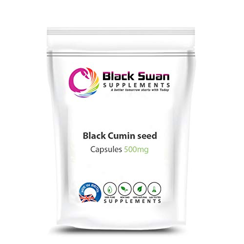 Black SWAN Black Cumin Seeds Supplement - with Anti-INFLAMMATORY Properties - Support Healthy Digestive System, Healthy Immune System, Healthy Skin, and Weight Loss - 500MG Veggie Capsules (30 caps)