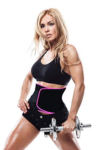 LEOPAX Waist Trimmer Belt Slimming Neoprene Ab Belt Trainer for Faster Weight Loss, Stomach Fat Burner Wrap Tummy Control/Belly Tummy Yoga Wrap Black Exercise Body Slim Look Belt 84 cm Size - Pink