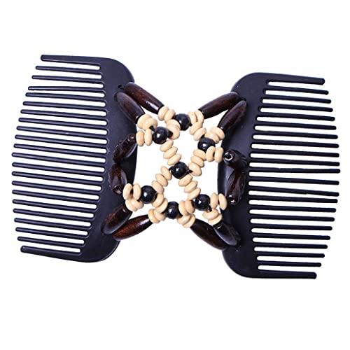 Afrikanische Haarkämme Magie Perlen Doppel Haarkamm Clip Doppelkamm Clips Stretchy Hairclip Braut Haarklammer Kopfbedeckung - Braun