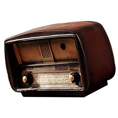 F Fityle Ornamento Decorativo de Resina Radio Estilo Vintage Retro Artículos - Marrón